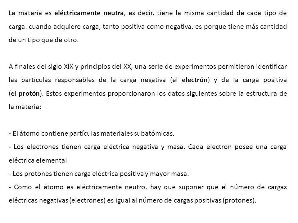 La materia es eléctricamente neutra, es decir, tiene la misma cantidad de cada tipo de carga. cuando adquiere carga, tanto positiva como negativa, es