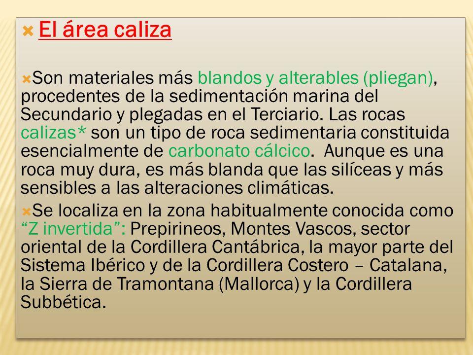 El área caliza Son materiales más blandos y alterables (pliegan), procedentes de la sedimentación marina del Secundario y plegadas en el Terciario.