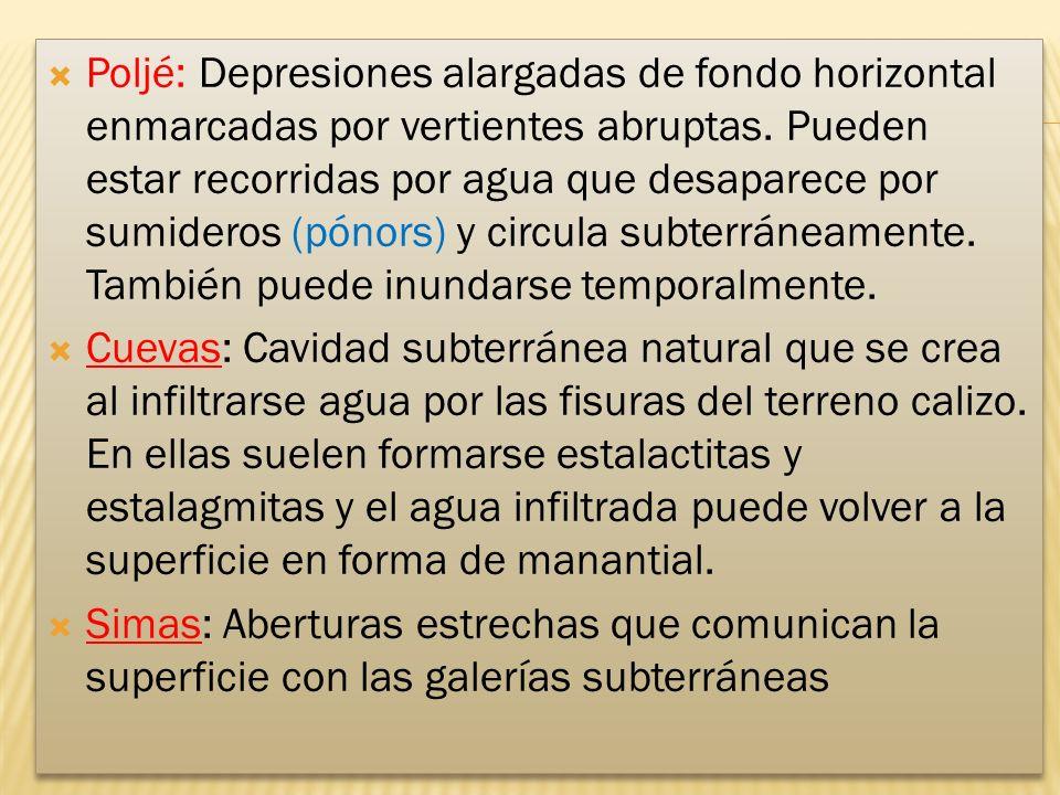 Poljé: Depresiones alargadas de fondo horizontal enmarcadas por vertientes abruptas.