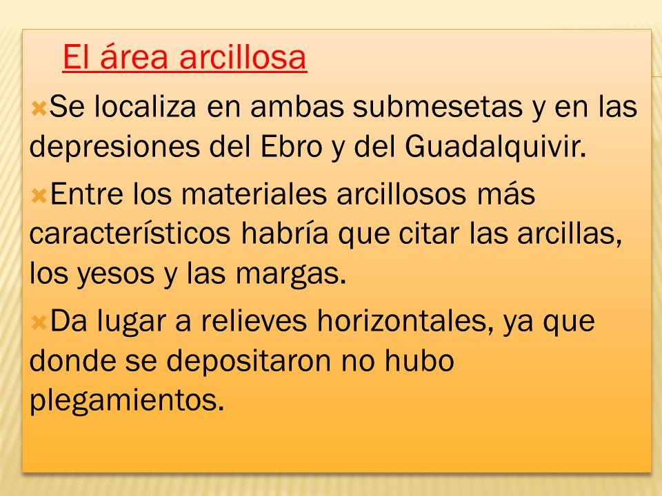 El área arcillosa Se localiza en ambas submesetas y en las depresiones del Ebro y del Guadalquivir. Entre los materiales arcillosos más característico