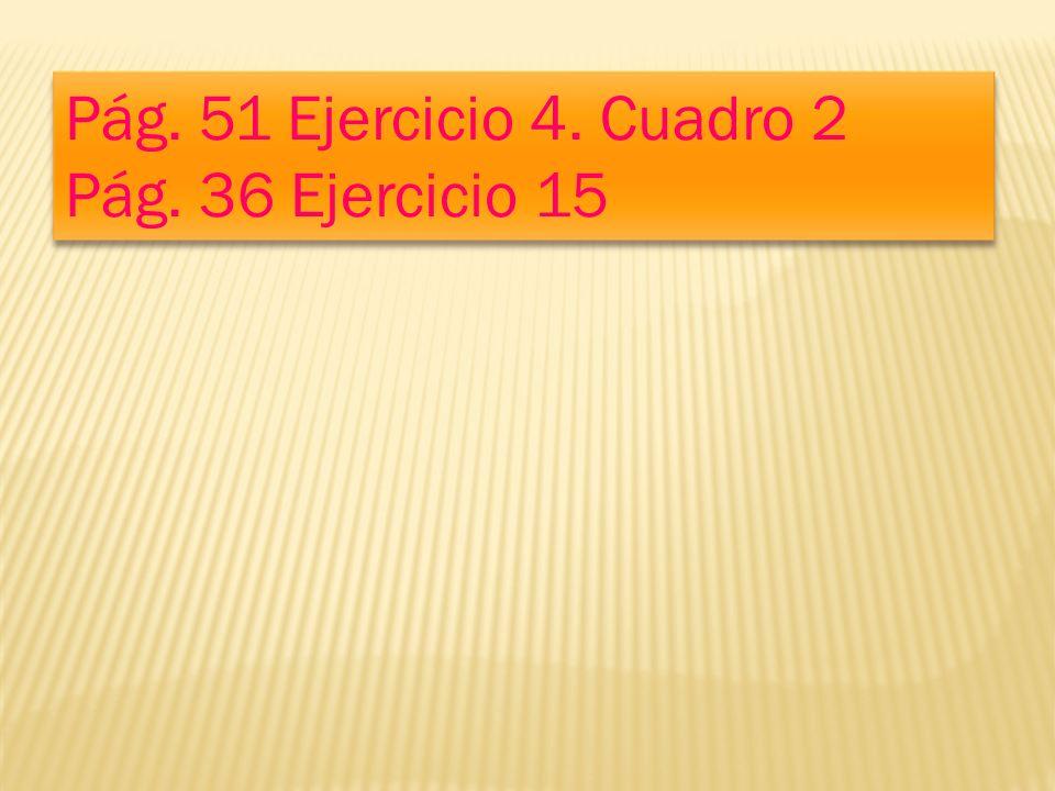 Pág.51 Ejercicio 4. Cuadro 2 Pág. 36 Ejercicio 15 Pág.