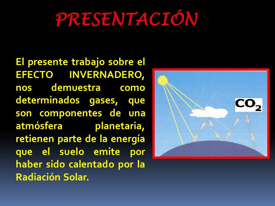 PRESENTACIÓN El presente trabajo sobre el EFECTO INVERNADERO, nos demuestra como determinados gases, que son componentes de una atmósfera planetaria,