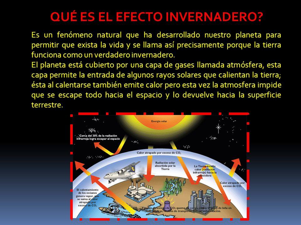 QUÉ ES EL EFECTO INVERNADERO? Es un fenómeno natural que ha desarrollado nuestro planeta para permitir que exista la vida y se llama así precisamente