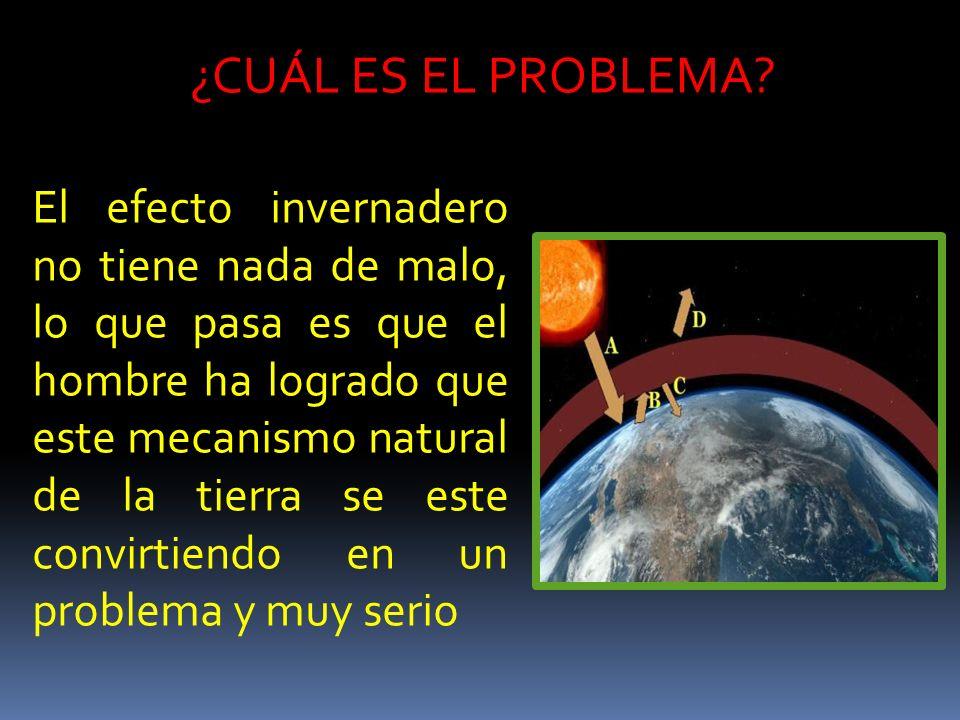 ¿CUÁL ES EL PROBLEMA? El efecto invernadero no tiene nada de malo, lo que pasa es que el hombre ha logrado que este mecanismo natural de la tierra se