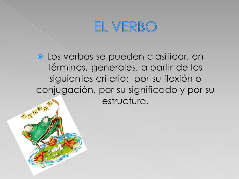 Los verbos se pueden clasificar, en términos, generales, a partir de los siguientes criterio: por su flexión o conjugación, por su significado y por s