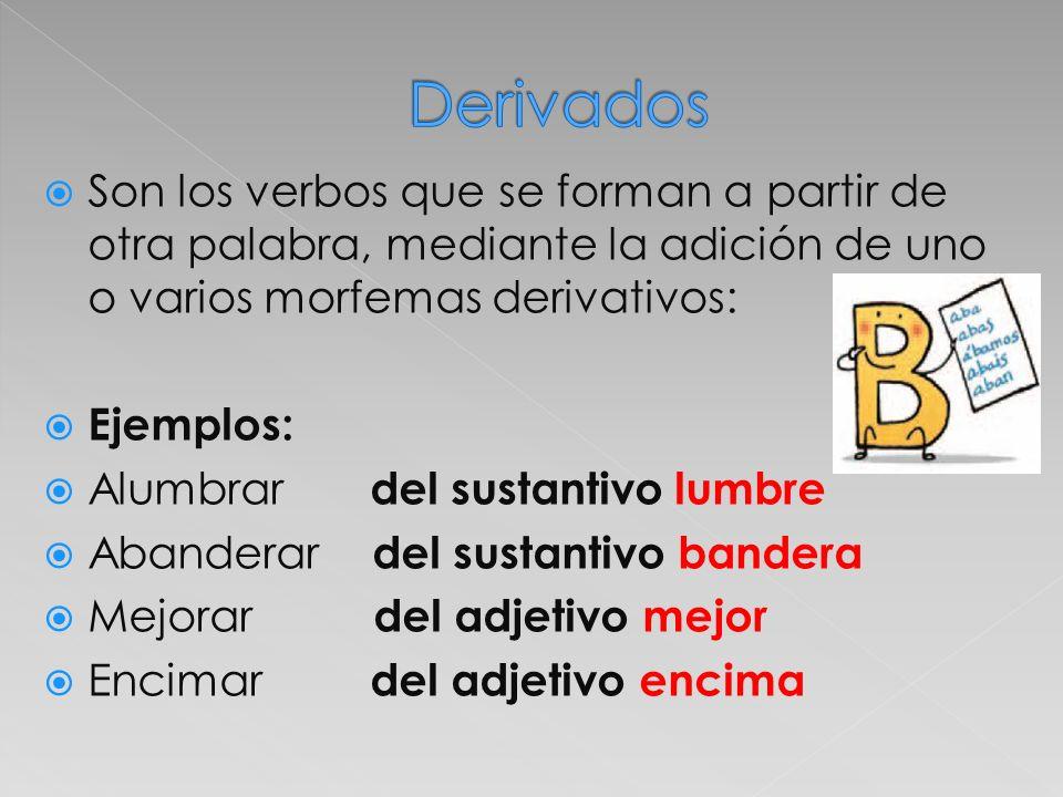 Son los verbos que se forman a partir de otra palabra, mediante la adición de uno o varios morfemas derivativos: Ejemplos: Alumbrar del sustantivo lum