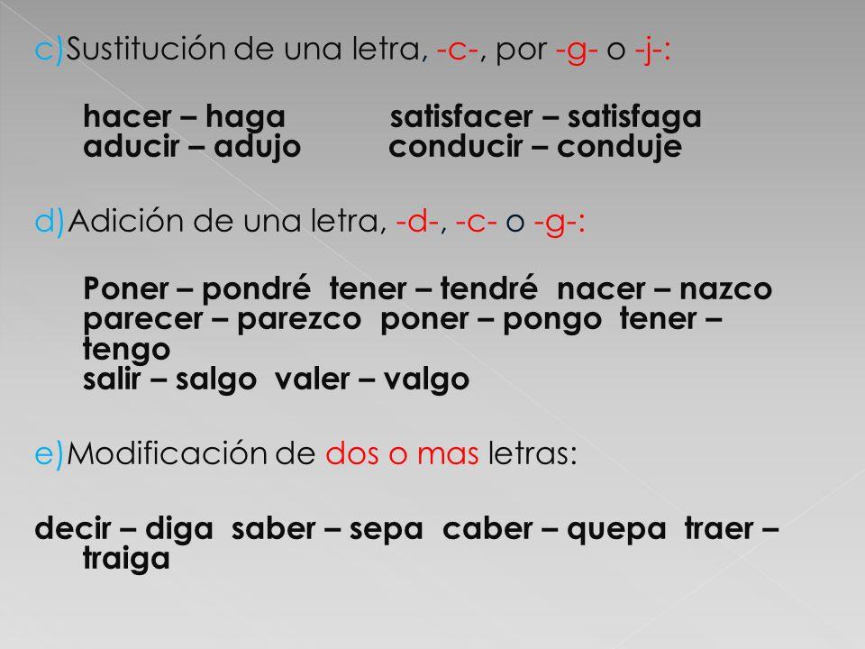 c)Sustitución de una letra, -c-, por -g- o -j-: hacer – haga satisfacer – satisfaga aducir – adujo conducir – conduje d)Adición de una letra, -d-, -c-