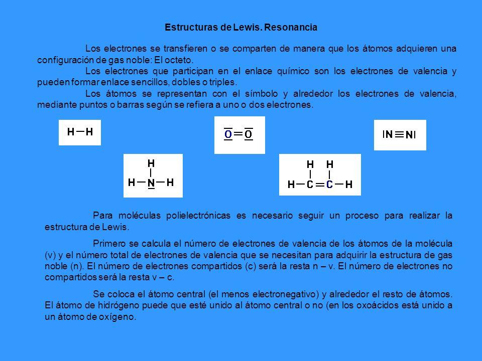 Por ejemplo, vamos a determinar la estructura de Lewis del ácido nítrico: Primero se determina el número total de electrones (n) y los de valencia (v): n = 8e (N) + 3x8e (O) + 2e (H) = 34e V = 5e (N) + 3x6e (O) + 1e (H) = 24e número de electrones compartidos: n – v = 34 – 24 = 10e (5 pares o enlaces) número de electrones no compartidos (libres) = v – c = 24 – 10 = 14e (7 pares no enlazantes).