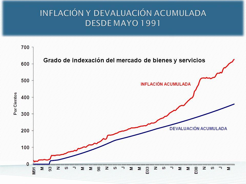 INFLACIÓN Y DEVALUACIÓN ACUMULADA DESDE MAYO 1991 INFLACIÓN ACUMULADA DEVALUACIÓN ACUMULADA Grado de indexación del mercado de bienes y servicios