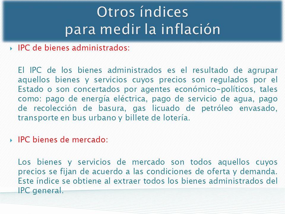 IPC de bienes administrados: El IPC de los bienes administrados es el resultado de agrupar aquellos bienes y servicios cuyos precios son regulados por