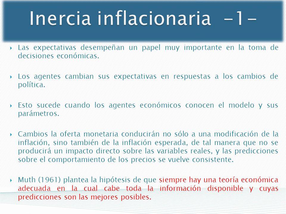 Inercia inflacionaria -1- Las expectativas desempeñan un papel muy importante en la toma de decisiones económicas. Los agentes cambian sus expectativa