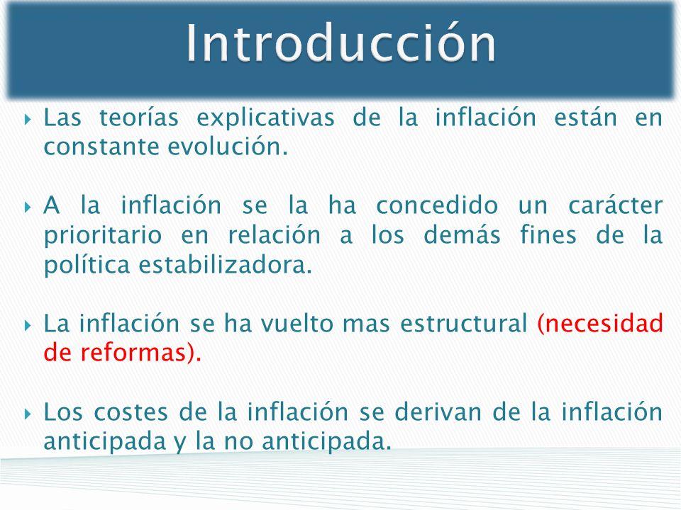 Introducción Las teorías explicativas de la inflación están en constante evolución. A la inflación se la ha concedido un carácter prioritario en relac