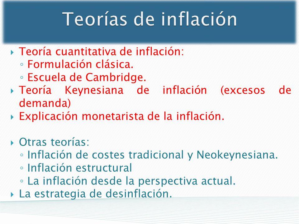 Teorías de inflación Teoría cuantitativa de inflación: Formulación clásica. Escuela de Cambridge. Teoría Keynesiana de inflación (excesos de demanda)