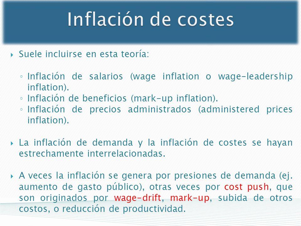 Inflación de costes Suele incluirse en esta teoría: Inflación de salarios (wage inflation o wage-leadership inflation). Inflación de beneficios (mark-