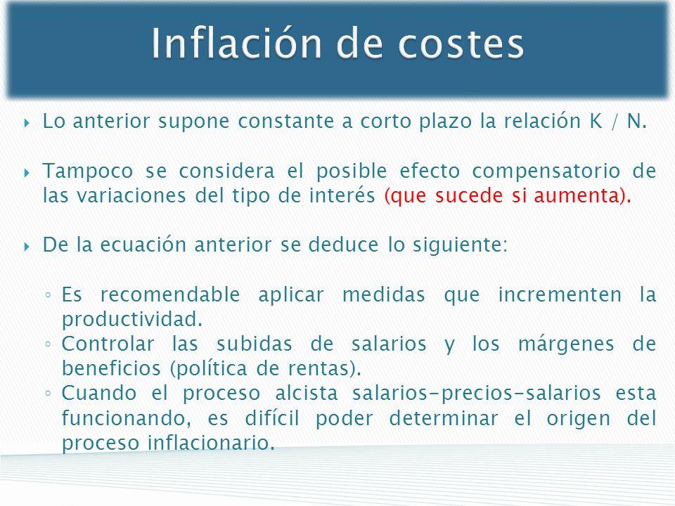 Inflación de costes Lo anterior supone constante a corto plazo la relación K / N. Tampoco se considera el posible efecto compensatorio de las variacio