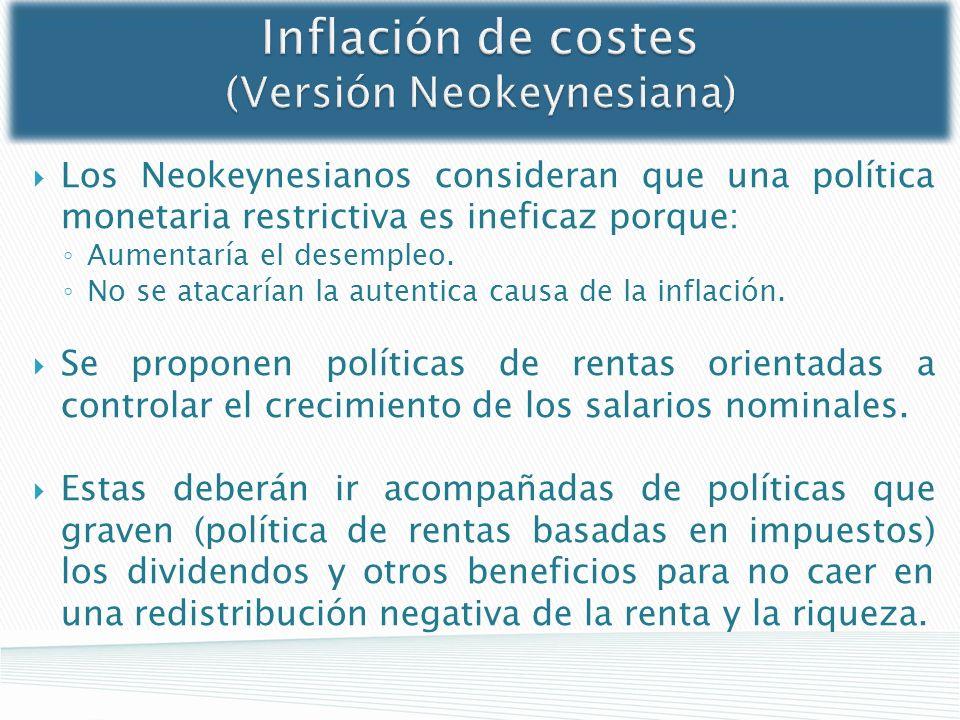 Inflación de costes (Versión Neokeynesiana) Los Neokeynesianos consideran que una política monetaria restrictiva es ineficaz porque: Aumentaría el des