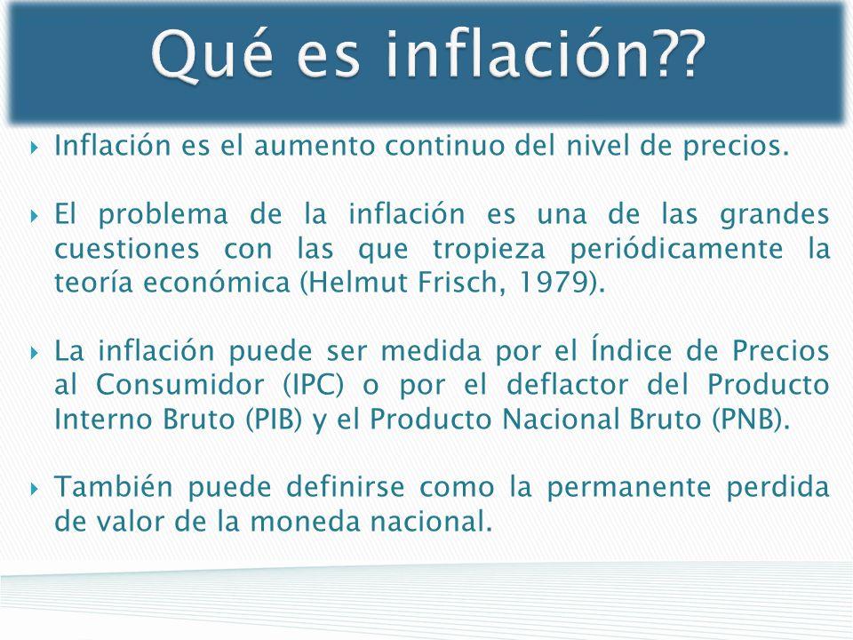 Qué es inflación?? Inflación es el aumento continuo del nivel de precios. El problema de la inflación es una de las grandes cuestiones con las que tro