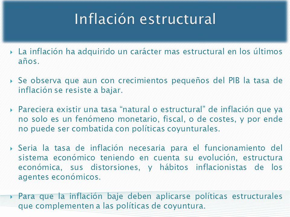 Inflación estructural La inflación ha adquirido un carácter mas estructural en los últimos años. Se observa que aun con crecimientos pequeños del PIB