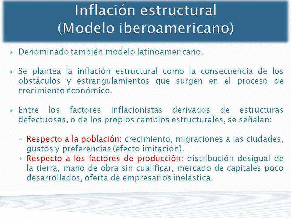 Inflación estructural (Modelo iberoamericano) Denominado también modelo latinoamericano. Se plantea la inflación estructural como la consecuencia de l