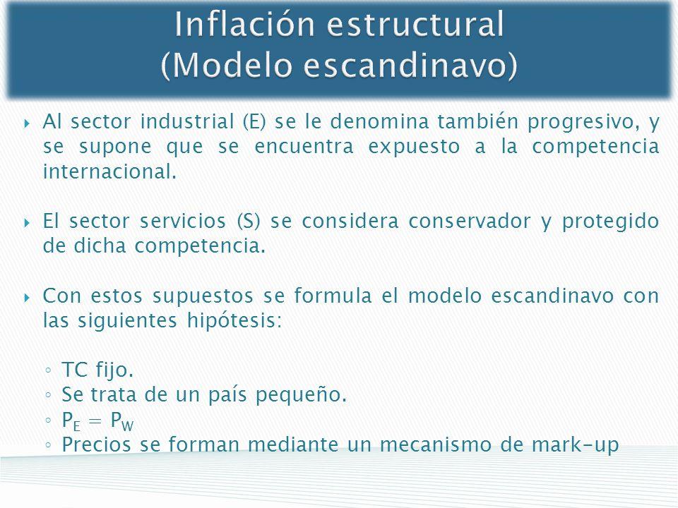 Inflación estructural (Modelo escandinavo) Al sector industrial (E) se le denomina también progresivo, y se supone que se encuentra expuesto a la comp