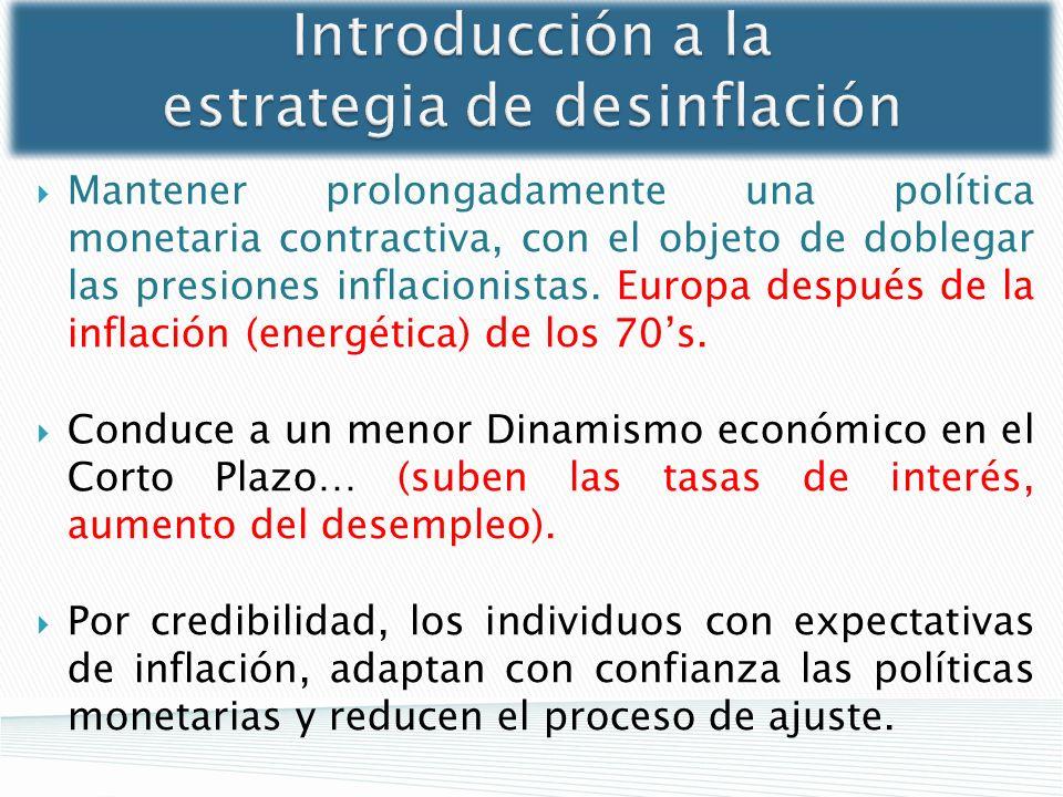 Introducción a la estrategia de desinflación Mantener prolongadamente una política monetaria contractiva, con el objeto de doblegar las presiones infl