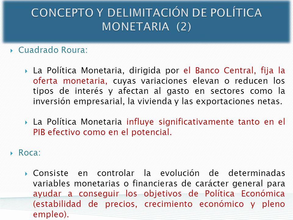 CONCEPTO Y DELIMITACIÓN DE POLÍTICA MONETARIA (2) Cuadrado Roura: La Política Monetaria, dirigida por el Banco Central, fija la oferta monetaria, cuya