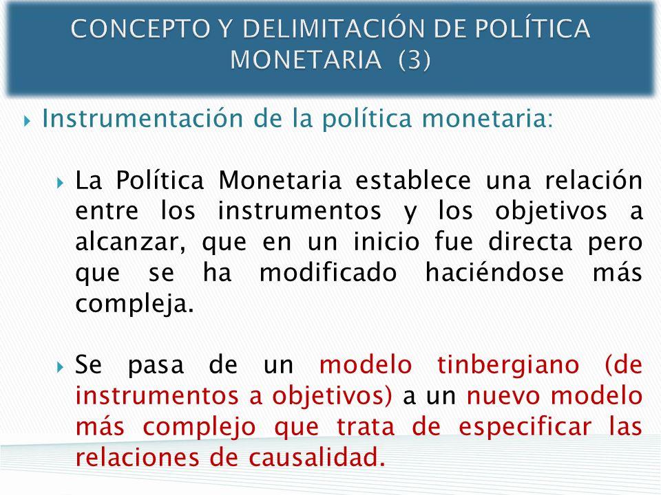 CONCEPTO Y DELIMITACIÓN DE POLÍTICA MONETARIA (3) Instrumentación de la política monetaria: La Política Monetaria establece una relación entre los ins