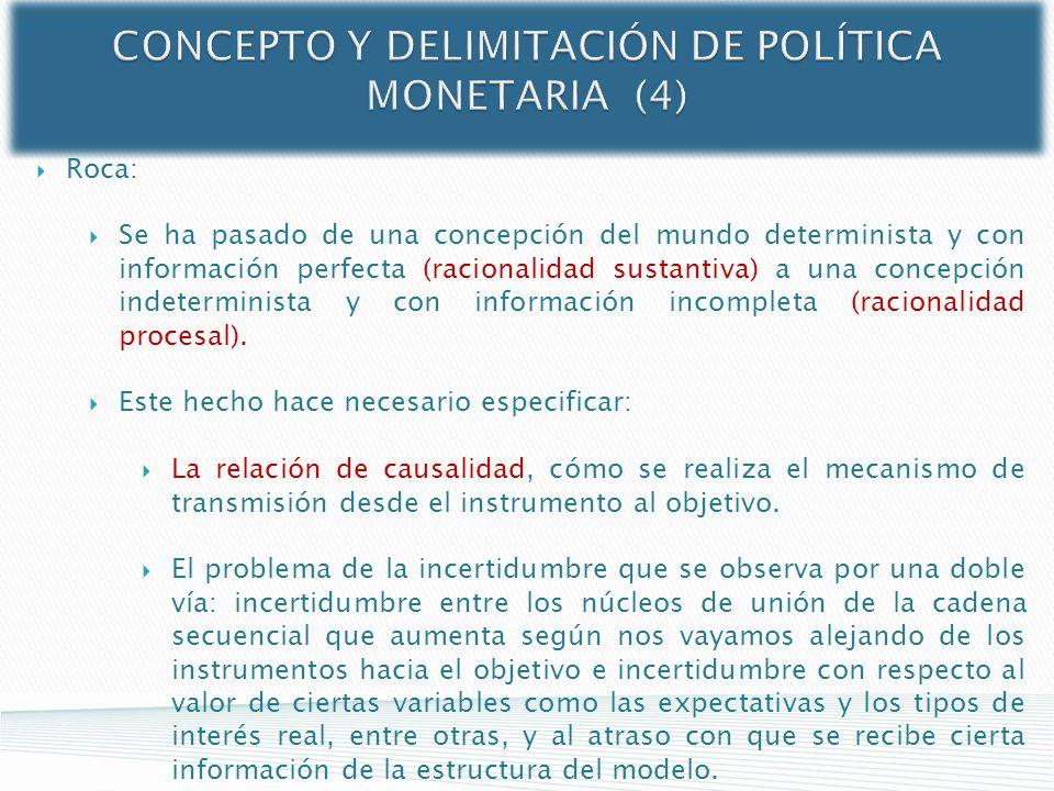 CONCEPTO Y DELIMITACIÓN DE POLÍTICA MONETARIA (4) Roca: Se ha pasado de una concepción del mundo determinista y con información perfecta (racionalidad