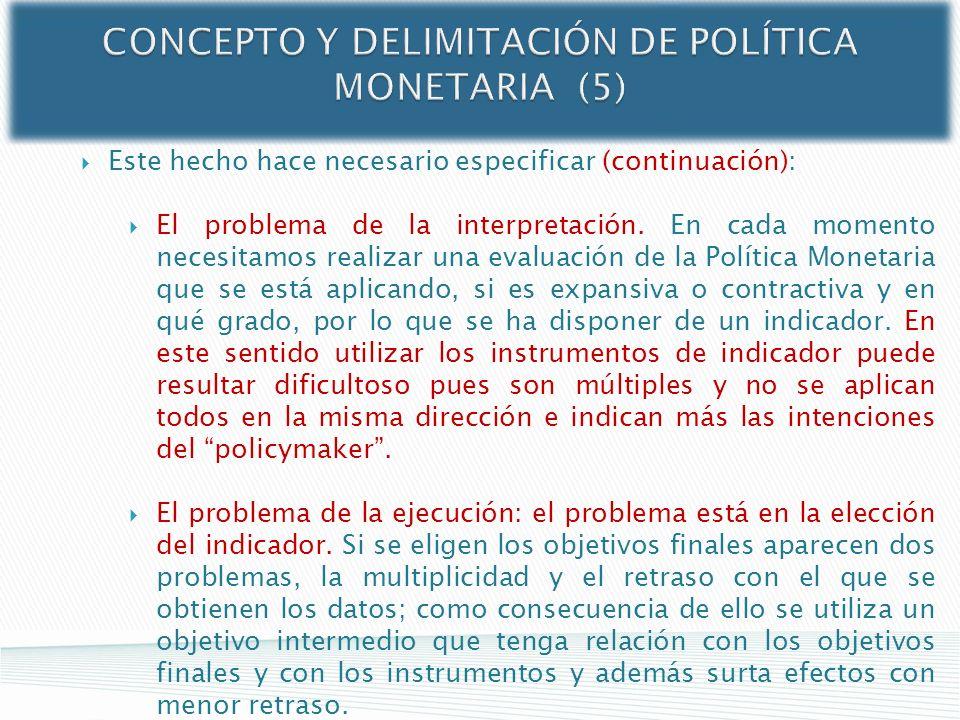 CONCEPTO Y DELIMITACIÓN DE POLÍTICA MONETARIA (5) Este hecho hace necesario especificar (continuación): El problema de la interpretación. En cada mome