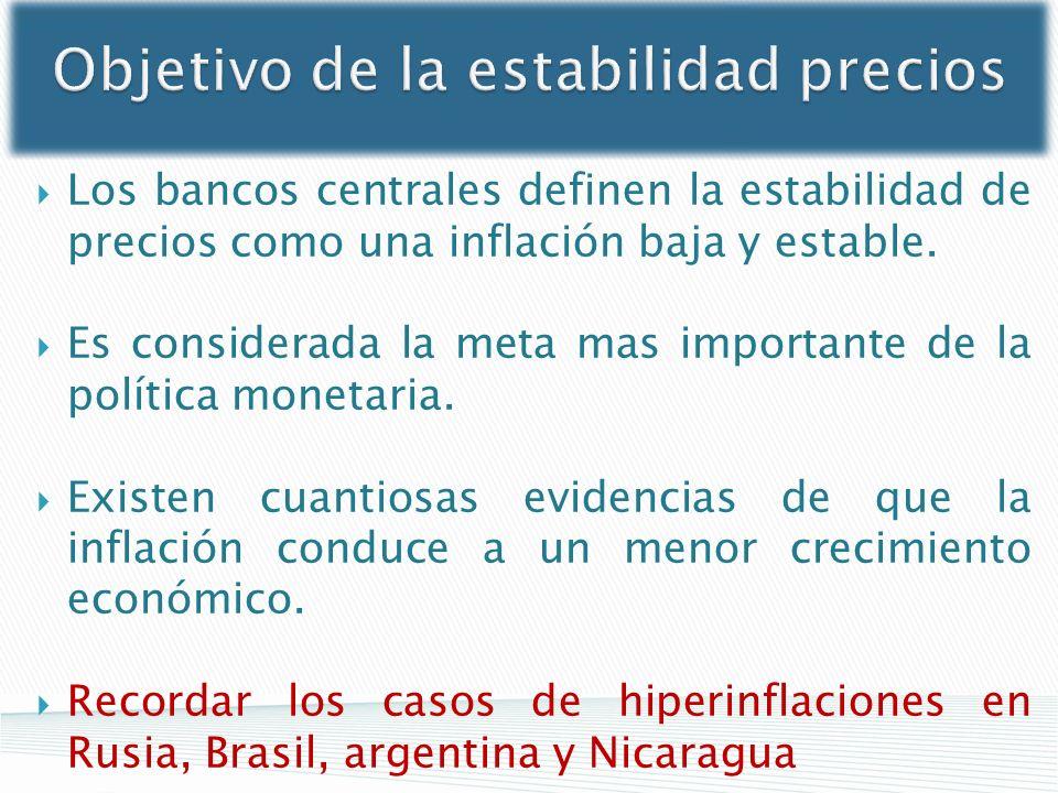 Objetivo de la estabilidad precios Los bancos centrales definen la estabilidad de precios como una inflación baja y estable. Es considerada la meta ma