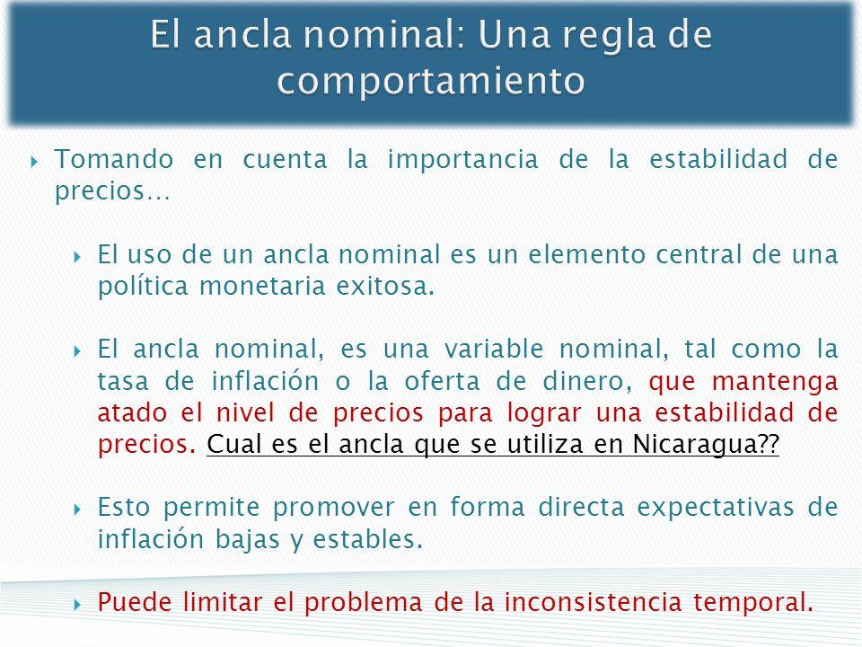 El ancla nominal: Una regla de comportamiento Tomando en cuenta la importancia de la estabilidad de precios… El uso de un ancla nominal es un elemento