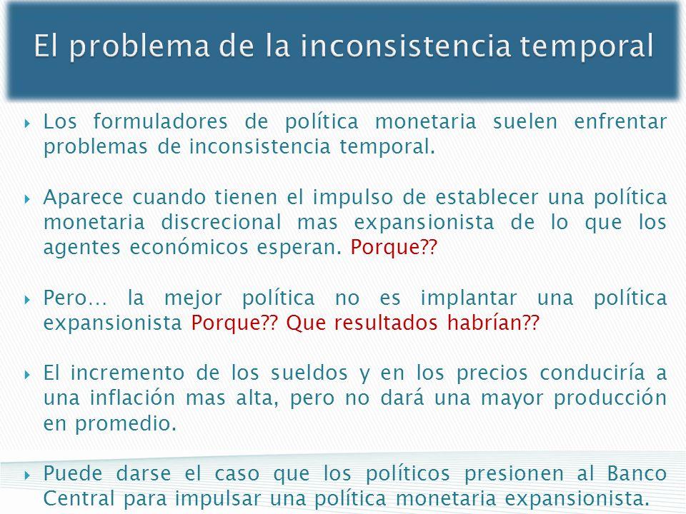 El problema de la inconsistencia temporal Los formuladores de política monetaria suelen enfrentar problemas de inconsistencia temporal. Aparece cuando