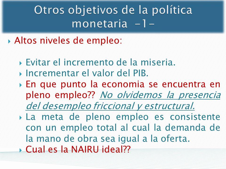 Otros objetivos de la política monetaria -1- Altos niveles de empleo: Evitar el incremento de la miseria. Incrementar el valor del PIB. En que punto l