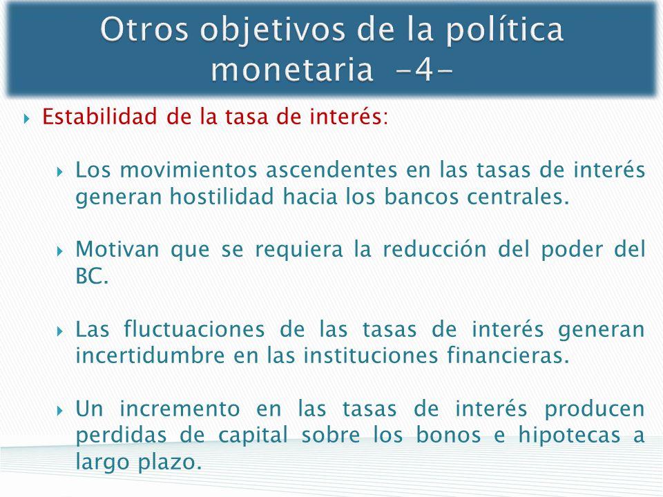 Otros objetivos de la política monetaria -4- Estabilidad de la tasa de interés: Los movimientos ascendentes en las tasas de interés generan hostilidad