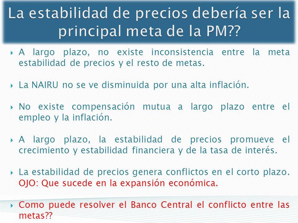 La estabilidad de precios debería ser la principal meta de la PM?? A largo plazo, no existe inconsistencia entre la meta estabilidad de precios y el r