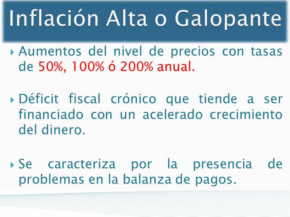 Inflación Alta o Galopante Aumentos del nivel de precios con tasas de 50%, 100% ó 200% anual. Déficit fiscal crónico que tiende a ser financiado con u
