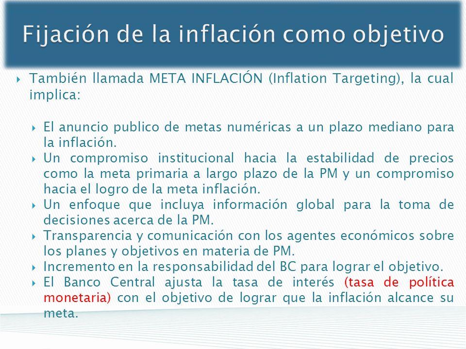 Fijación de la inflación como objetivo También llamada META INFLACIÓN (Inflation Targeting), la cual implica: El anuncio publico de metas numéricas a