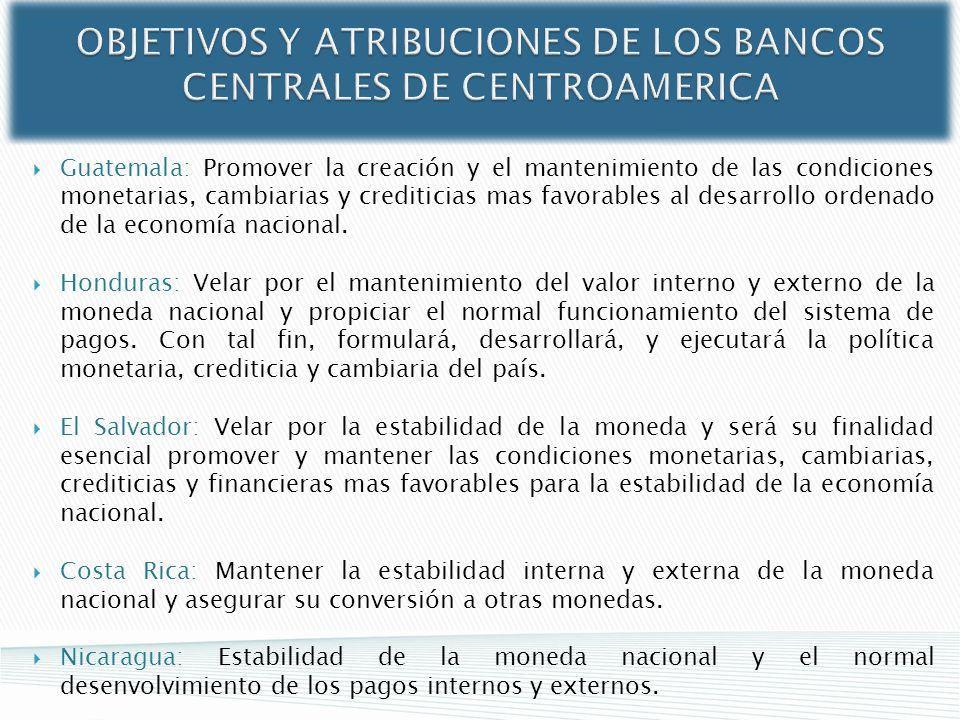 OBJETIVOS Y ATRIBUCIONES DE LOS BANCOS CENTRALES DE CENTROAMERICA Guatemala: Promover la creación y el mantenimiento de las condiciones monetarias, ca