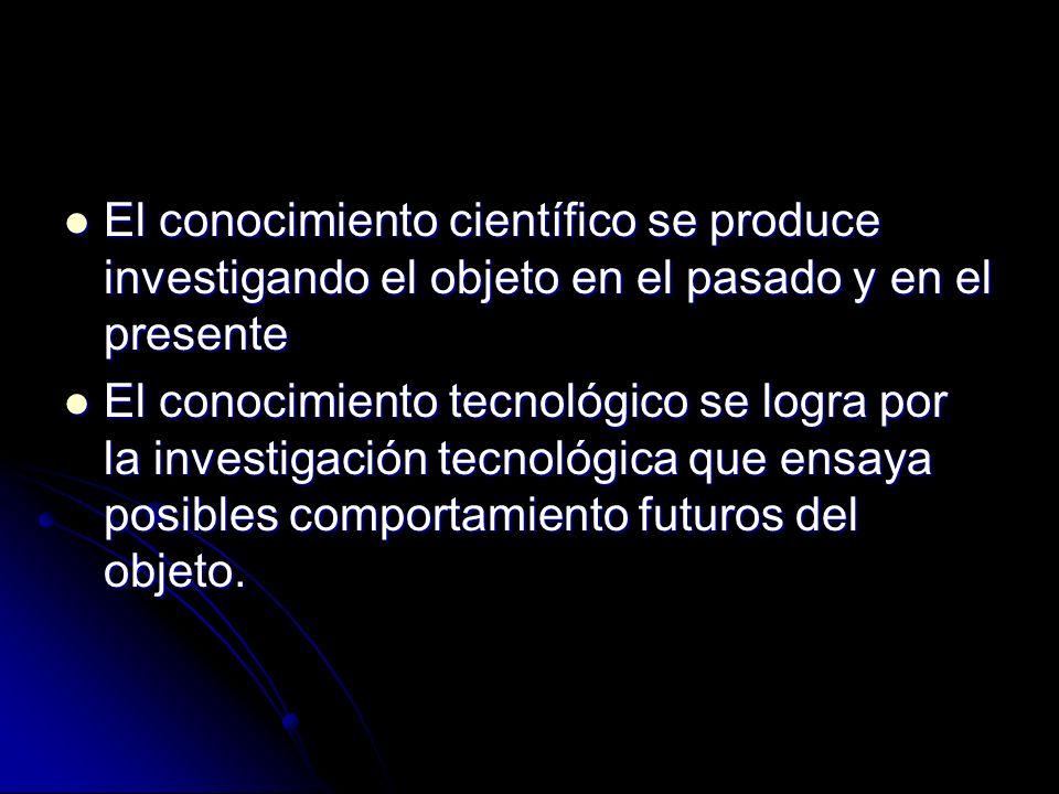 El conocimiento científico se produce investigando el objeto en el pasado y en el presente El conocimiento científico se produce investigando el objet