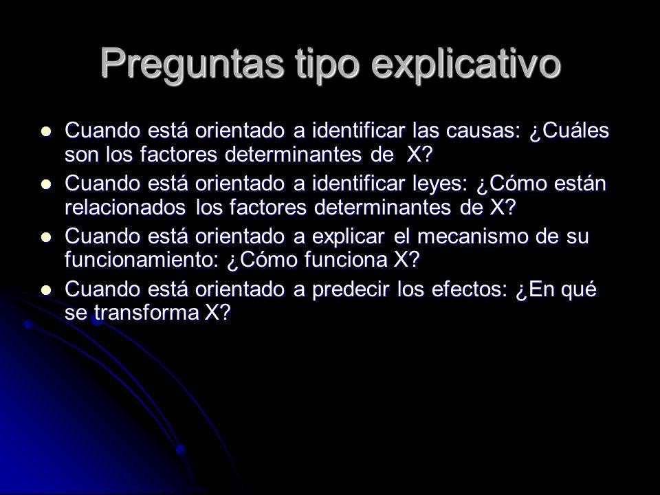 Preguntas tipo explicativo Cuando está orientado a identificar las causas: ¿Cuáles son los factores determinantes de X? Cuando está orientado a identi