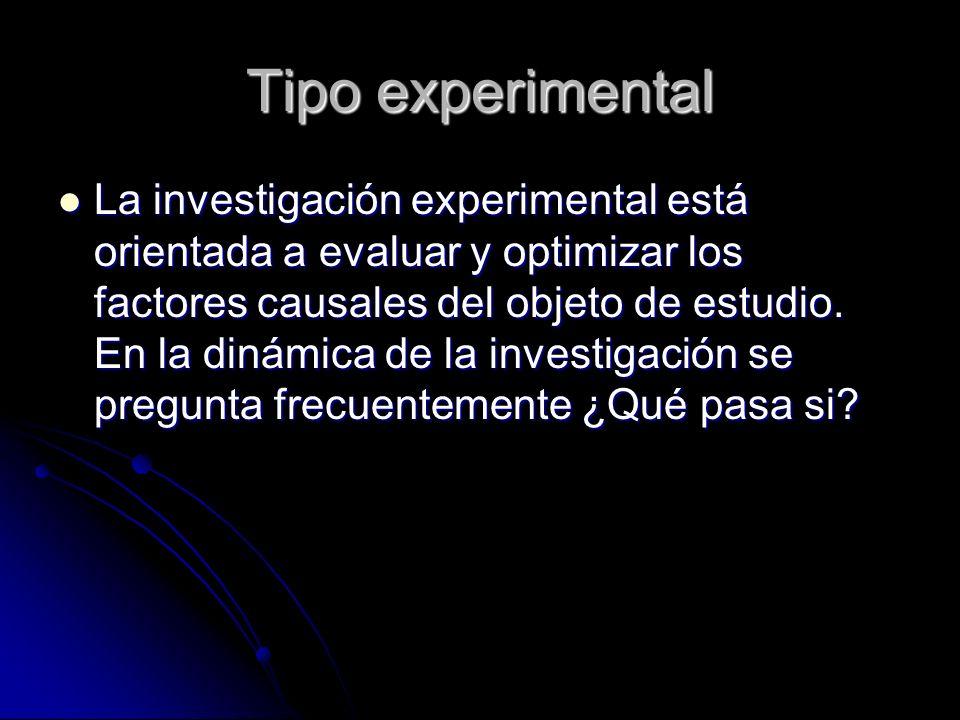 Tipo experimental La investigación experimental está orientada a evaluar y optimizar los factores causales del objeto de estudio. En la dinámica de la
