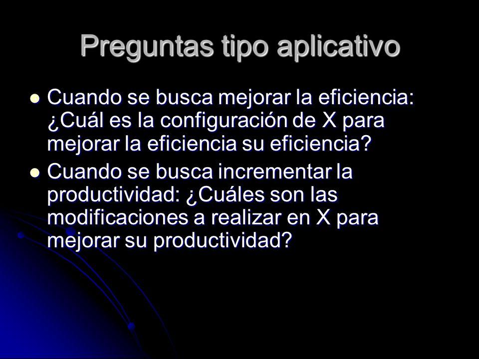 Preguntas tipo aplicativo Cuando se busca mejorar la eficiencia: ¿Cuál es la configuración de X para mejorar la eficiencia su eficiencia? Cuando se bu