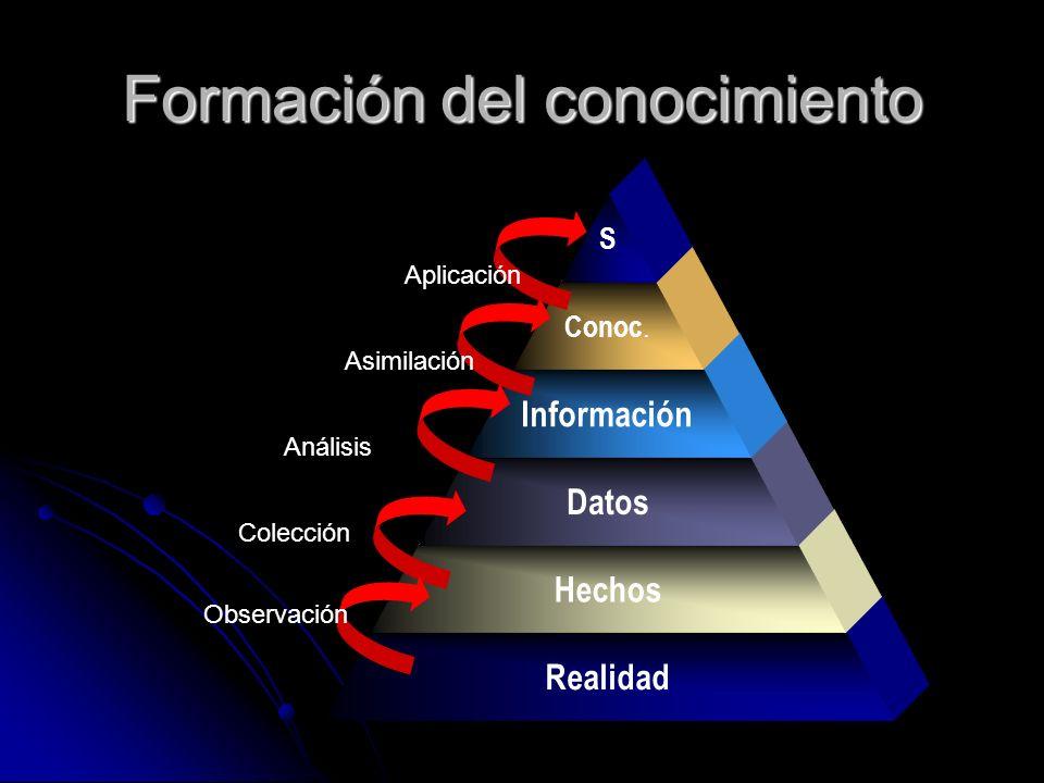 Formación del conocimiento Realidad Hechos Datos Información Conoc. S Observación Colección Análisis Asimilación Aplicación