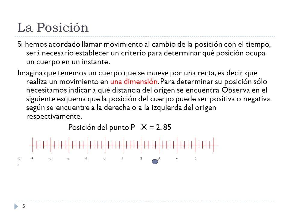 La Posición 5 Si hemos acordado llamar movimiento al cambio de la posición con el tiempo, será necesario establecer un criterio para determinar qué po