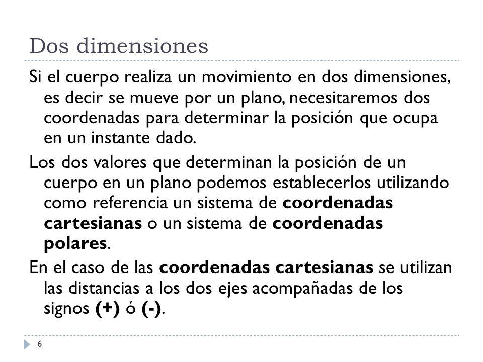 Dos dimensiones 6 Si el cuerpo realiza un movimiento en dos dimensiones, es decir se mueve por un plano, necesitaremos dos coordenadas para determinar