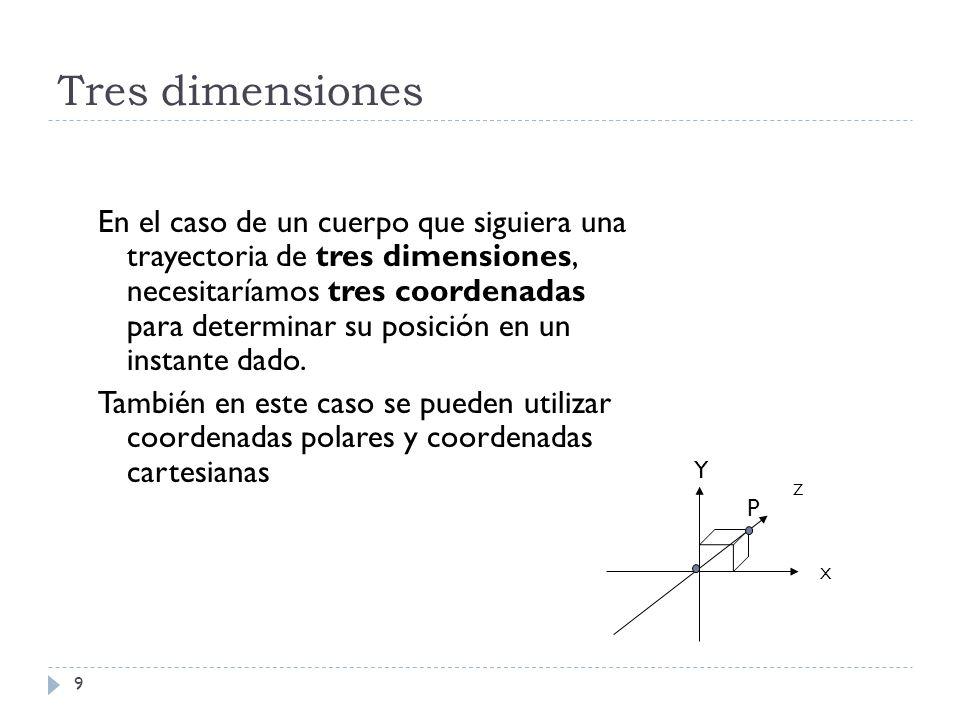 Tres dimensiones 9 En el caso de un cuerpo que siguiera una trayectoria de tres dimensiones, necesitaríamos tres coordenadas para determinar su posici