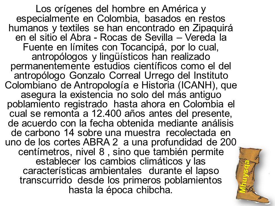 Los orígenes del hombre en América y especialmente en Colombia, basados en restos humanos y textiles se han encontrado en Zipaquirá en el sitio el Abr