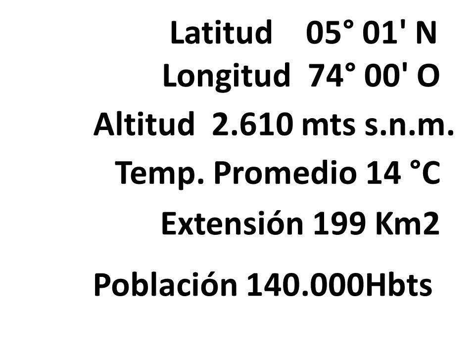 Latitud 05° 01' N Longitud 74° 00' O Altitud 2.610 mts s.n.m. Temp. Promedio 14 °C Extensión 199 Km2 Población 140.000Hbts