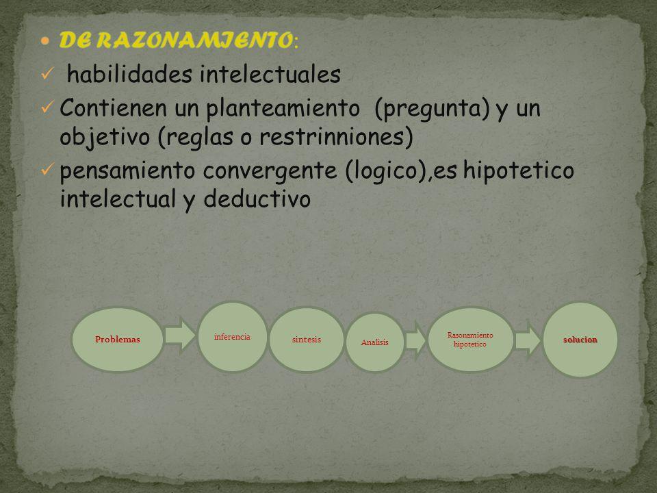Problemas inferencia sintesis Analisis Rasonamiento hipotetico solucion