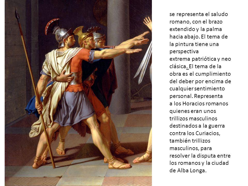 se representa el saludo romano, con el brazo extendido y la palma hacia abajo.